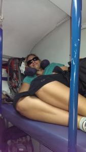 My friend on the top bunk getting comfy on the way to Agra