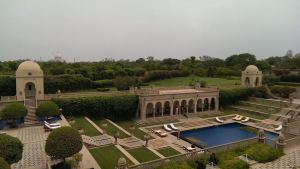 Balcony view of the gorgeous grounds/pool and the Taj Mahal in the background ... Made for royalty